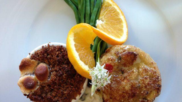 Crab Stuffed trout and Sweet Potato Souffle