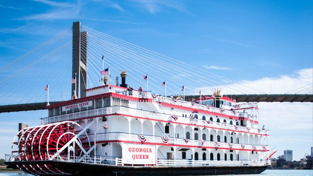 Savannah Riverboat Cruises' Georgia Queen by Bridge