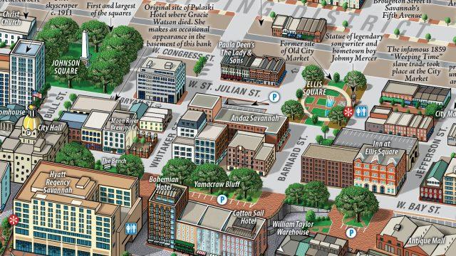 Savannah Historic District Map detail