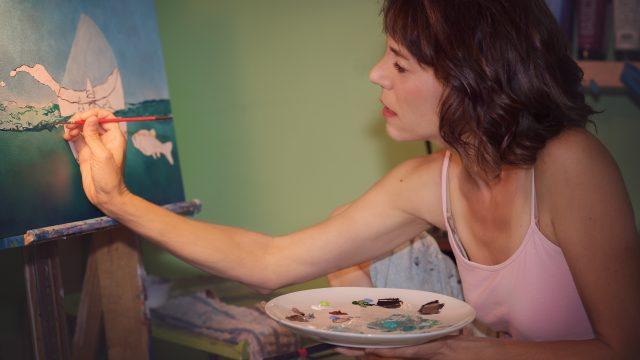 Lisa Rosenmeier at work painting