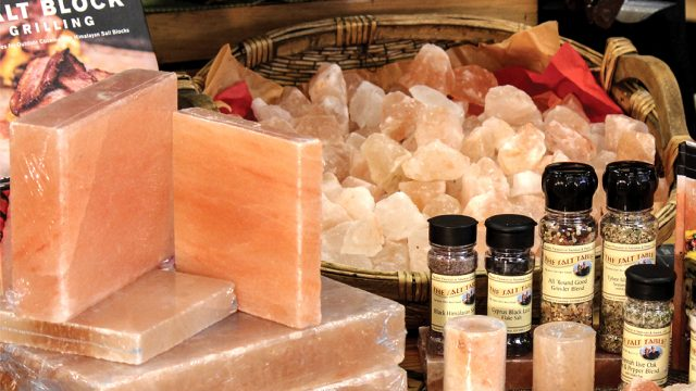 Salt block cooking stones (left) come in all sizes. The All Round Good Grinder Blend is #1 item