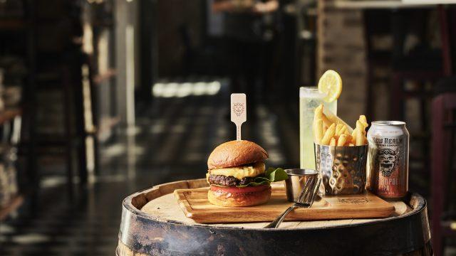 Wagyu Burger with Hoptropolis IPA & Vodka Cocktail